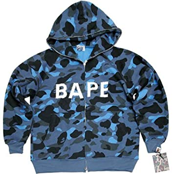 3e8648a95086 Amazon.com  BAPE Bathing Ape Blue Camo Rhinestone Hoodie Hoody  Everything  Else