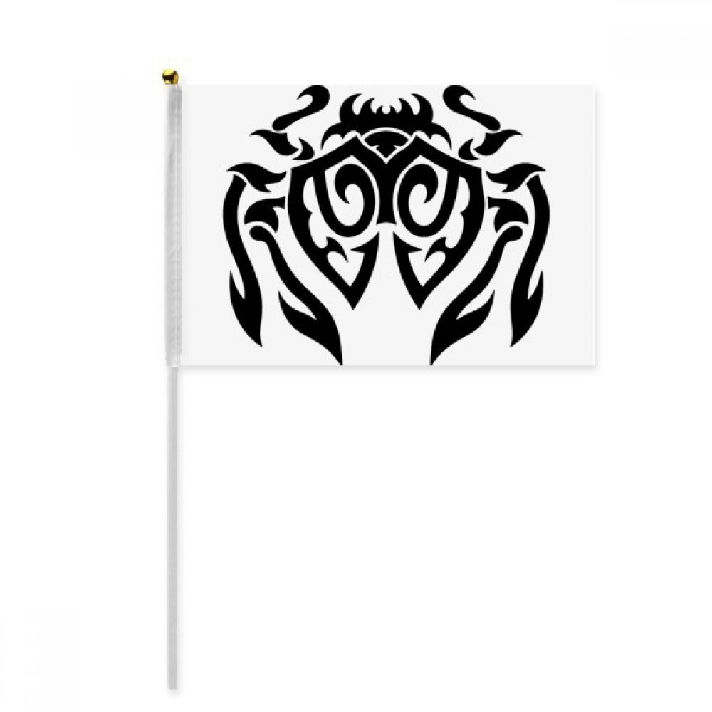 Black Illustration Spider Insect Pattern Hand Waving Flag 8x5 inch Polyester Sport Event Procession Parade 4pcs