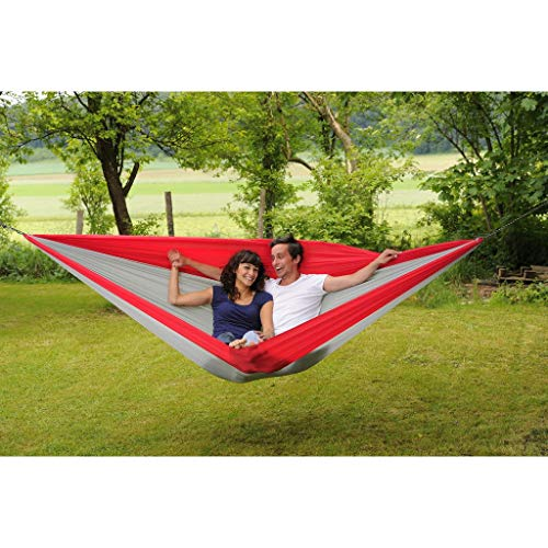 Byer of Maine Traveller Double XXL Hammock, Extra Large, Two Person, Lightweight, Easy to Transport, Nylon Fabric, Easy Assembly, Red/Grey, 125