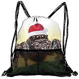 Mr.Roadman 3D Print Leisure Bundle Backpack Santa Spider Funny Picture Portable Drawstring Bag Gym Bag Yoga Runner Daypack Polyester Shoe Bags