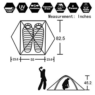 Hillman 3-4 Season 2 3 Person Lightweight Backpacking Tent Windproof Camping Tent Awning Family Tent Two Doors Double Layer with Aluminum rods for Outdoor Camping Family Beach Hunting Hiking Travel