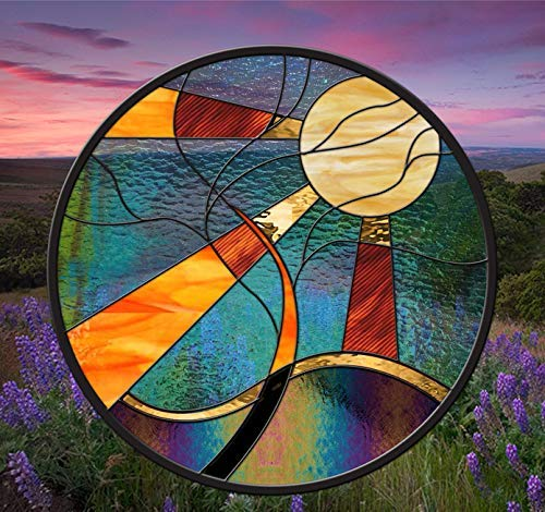 (Stained Glass Window Panel • Round Sun Tree 24