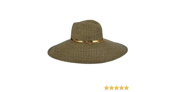 cbc60f18b76e21 Scala Collezione Paper Braid Safari Gold Buckle Metal Bead 6 In.Brim UPF50  LP258 (Navy) at Amazon Women's Clothing store: