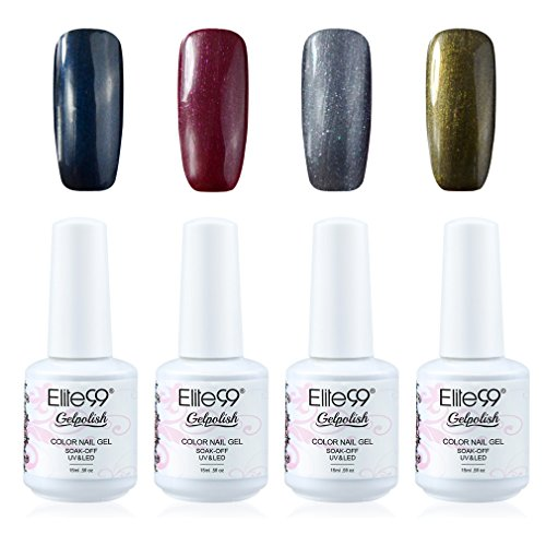 Elite99 Soak Off Gel Polish Lacquer UV LED Nail Art Manicure Kit 4 Colors Set (20pcs Gel Remover Wraps)