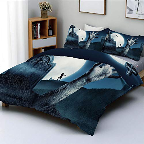 (Duplex Print Duvet Cover Set Queen Size,Dead Person Arm in Cemetery Bat Flying Full Moon Ghost Devil Illustration DecorativeDecorative 3 Piece Bedding Set with 2 Pillow Sham,Slate Blue Grey,Best Gift)