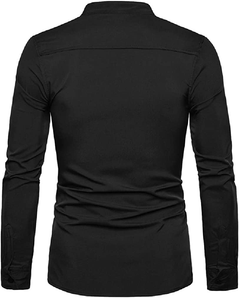 Tralounry Mens Casual Zipper Jackets Long-Sleeve Skeleton Embroidered Dress Shirts