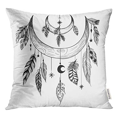Semtomn Decorative Throw Pillow Case Cushion Cover Tattoo Detailed Mystical Feathers Beads Moons Stars and Crystals 16x16 Inch Cases Square Pillowcases - Rosary Tattoo Beads