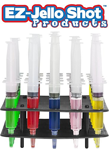 Jello Syringe Shots for Alcohol, Syringe Set of Jello Shots for Halloween - 1 oz Jello Shots Syringes with Rack - 25 Jello Shot Syringes and Rack Combo Kit, Small (1 oz) by EZ-Inject (Making Halloween Jello Shots)