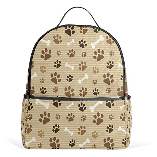 Use4 Brown Dog Paw Print with Bone Polyester Backpack School Travel Bag