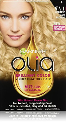Garnier Olia Ammonia-Free Brilliant Color Oil-Rich Permanent Hair Color, 9 1/2.1 Lightest Ash Blonde (1 Kit) Blonde Hair Dye (Packaging May -
