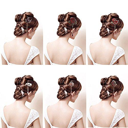 cici store Women Elegant Flower Hairpin Rhinestone Hair Stick