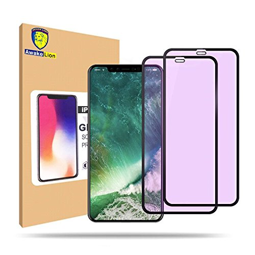 [2-Pack] iPhone X Screen Protector, Awakelion Anti Blue Light Ray Glare Full Coverage Tempered Glass Screen Protector Film for Apple iPhone X [Grade A from Japan] [9H Hardness] [HD Clear] [ 3D Touch]