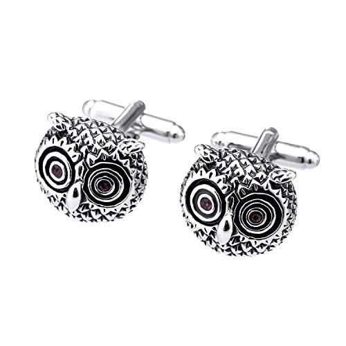 Salutto Men's Cute Red Eyes Owl Cufflinks with Gift Box