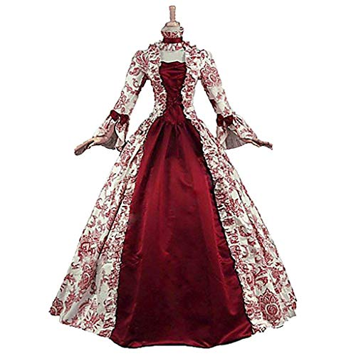 1791's lady Women's Victorian Rococo Dress Inspration Maiden Costume Red L