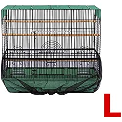Topsair Seed Catcher for Bird Cages Outdoor Feeders Parrot Net Cover Up Dress Large Nylon Soft Ventilation Sheer Guard Bird Cage Accessories L Black