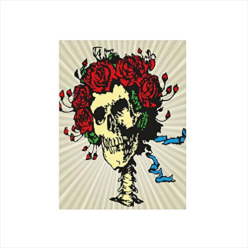 Decorative Privacy Window Film/Tattoo Art Style Graphic Skull in Red Flowers Crown Halloween Composition Print Decorative/No-Glue Self Static Cling for Home Bedroom Bathroom Kitchen Office Decor Beige