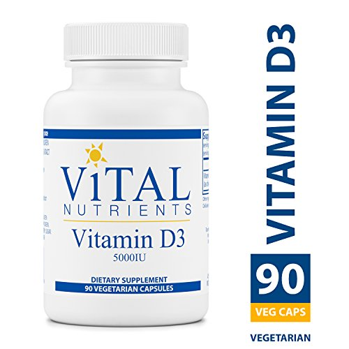 Vital Nutrients - Vitamin D3 5,000 IU - Supports Calcium Absorption and Bone Health - Gluten Free - 90 Vegetarian Capsules per Bottle