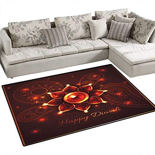 - Diwali Girls Bedroom Rug Paisley Design Backdrop with Beams and Diwali Wishes Candles Tribal Celebration Door Mat Indoors Bathroom Mats Non Slip 36