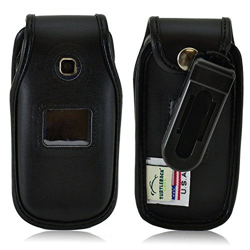 Turtleback Fitted Case Made for LG 450 Flip Phone Black Leather Rotating Removable Belt Clip Made in USA