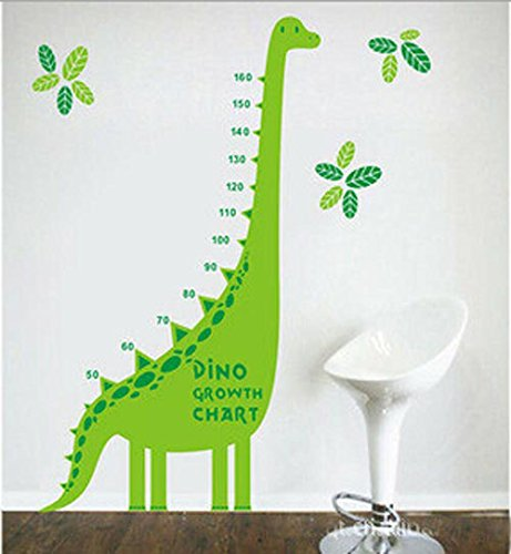 Green dinosaur growth chart for kids and nursery room for Growth chart for kids room
