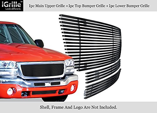APS Fits 2003-2006 GMC Sierra 1500/2500HD/3500 Stainless Black Billet Grille Combo #G67796J