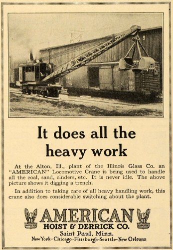 1924 Ad American Hoist & Derrick Co. Illinois Glass Co. - Original Print Ad by PeriodPaper LLC-Collectible...