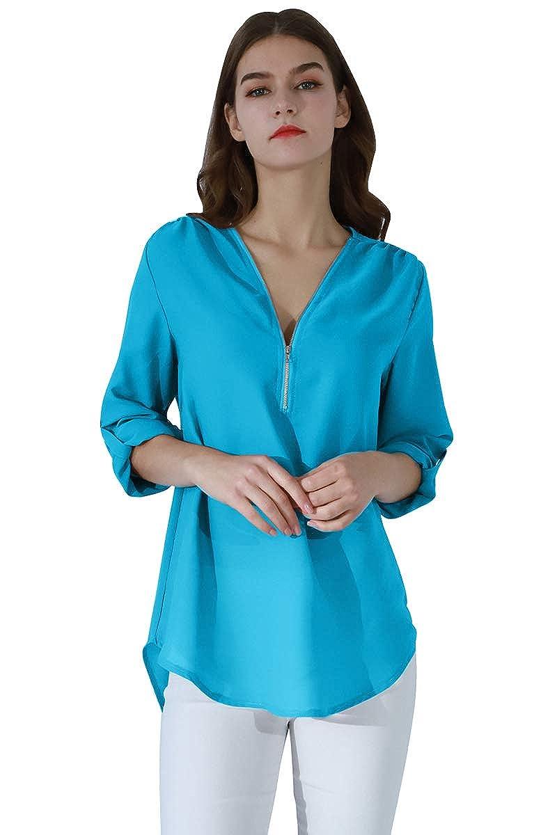 YMING Women's Casual Chiffon Blouse Loose Long Sleeve Shirt V Neck Zipper Top