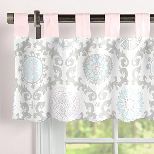 (Carousel Designs Pink and Gray Rosa Window Valance Tab-Top )