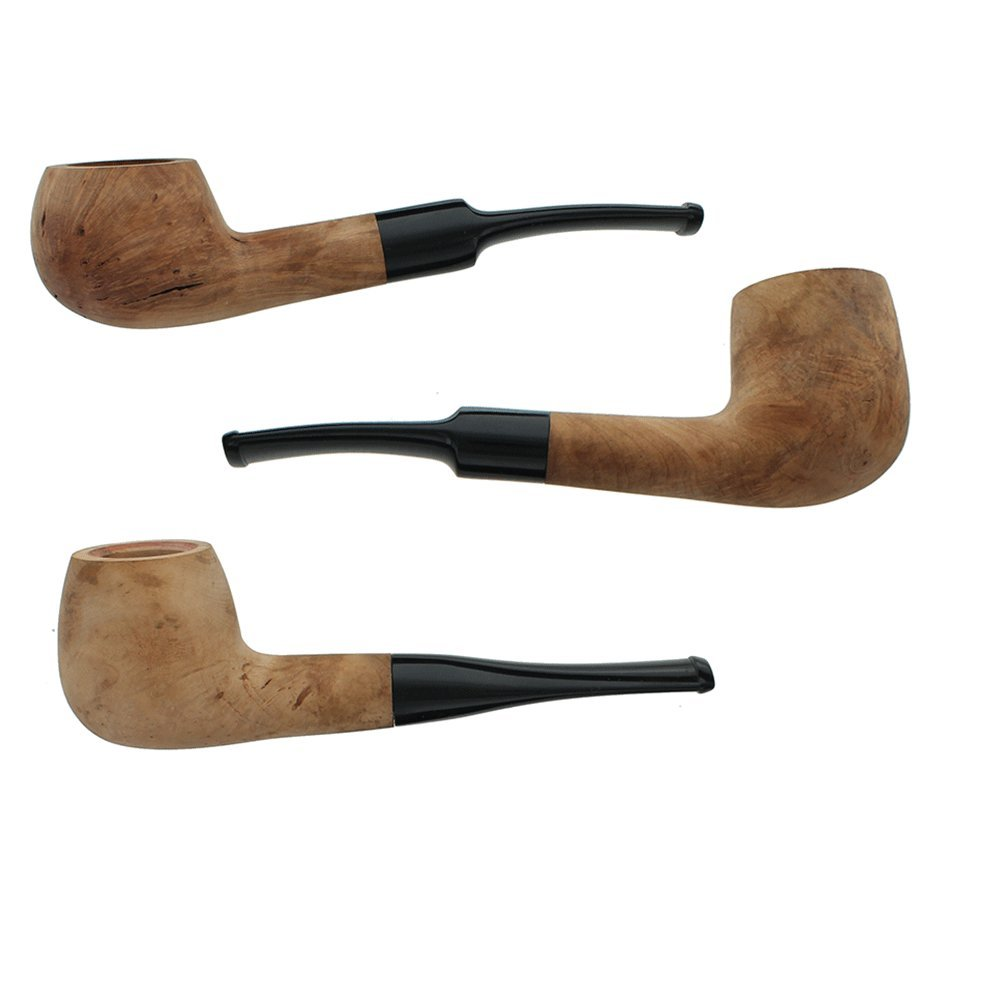 Briar Tobacco Pipe - Assorted 3 Pack of Straight Stem Smoking Pipes with Unfinished Bowls by Barlow & Dorr