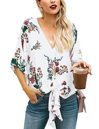 Sleeve 1/2 Top (Women's Summer Floral Blouse V Neck 3/4 Short Bell Sleeve Top Shirts (White2, Large))