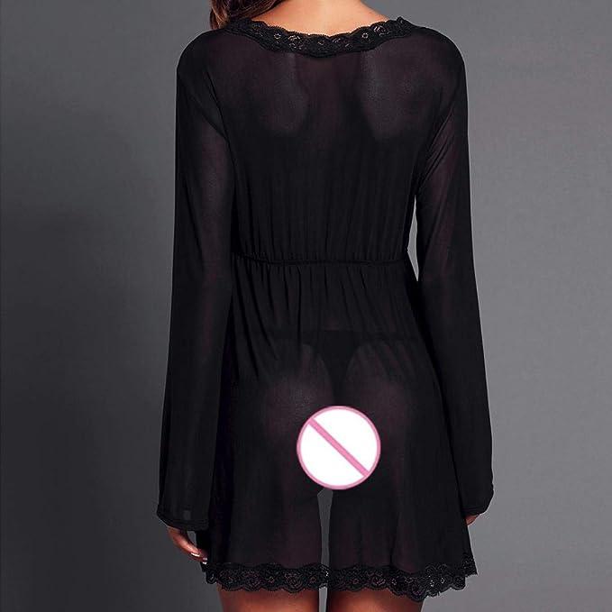 DEELIN Vestido De Encaje De LenceríA Sexy De Gran TamañO De Moda Babydoll SeñOras LenceríA Pijama Ropa De Dormir CamisóN Negro: Amazon.es: Ropa y accesorios