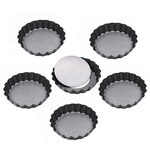 (Kaptin 3.9 Inch Removable Bottom Quiche Pans, Non Stick Mini Tart Pans, Set of 6)