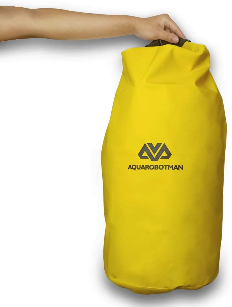 AQUAROBOTMAN Floating Dry Bags 40L Waterproof Yellow Backpack, Roll Top Compression Sack Keeps Gear Dry for Kayaking, Rafting, Boating, Swimming, Camping, Hiking, Fishing, Beach Food Storage Pack