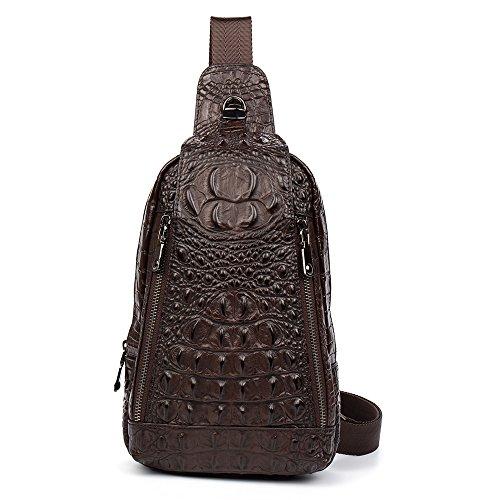 Haixin cocodrilo Textura Solo Pecho Alta Bolso Hombre Moda Bandolera de Cuero Bolso Brown Calidad Mensajero de Ocio Bolsa rXvrFn