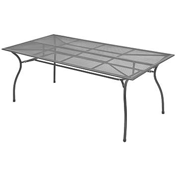 Festnight Gartentisch Esstisch Tisch Terrassentisch Stahlgeflecht