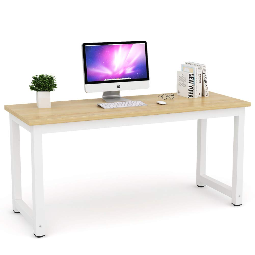 Tribesigns Computer Desk, 63 inch Large Office Desk Computer Table Study Writing Desk Workstation for Home Office, Walnut
