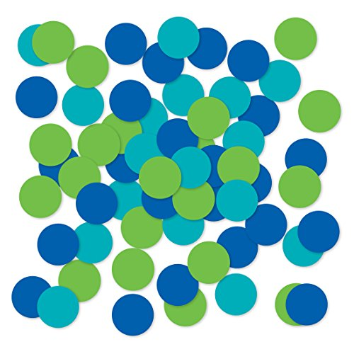 Andaz Press Large Confetti Party Table Decor, 1.5-inch Double-Sided, Kiwi Green, Turquoise, Royal Blue, 180-Pack, Rainbow Peacock Theme