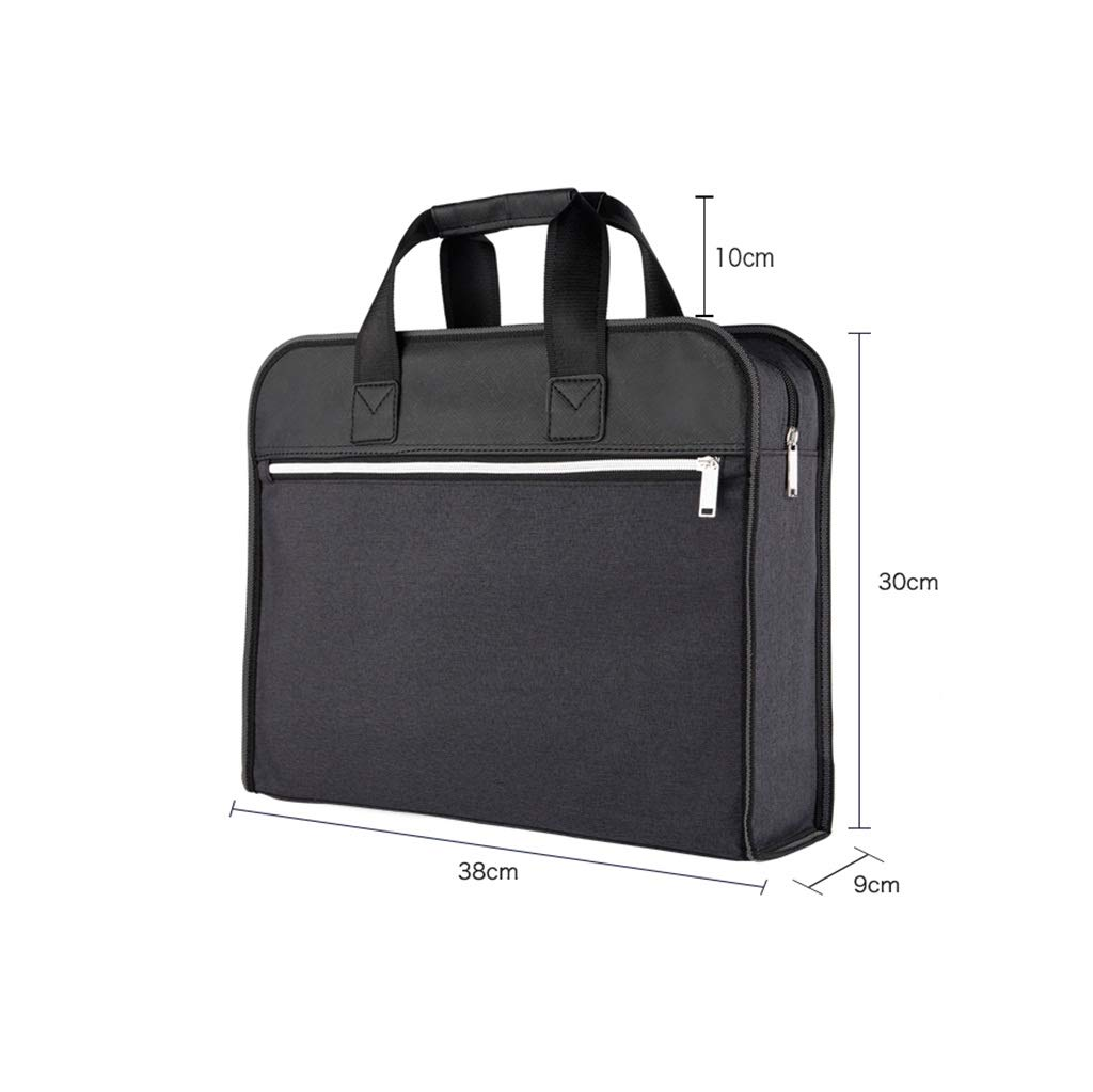 QSJY File Cabinets Portable A4 Canvas Zipper Document Bag Multilayer Business Briefcase 38x30x9cm (Color : B, Size : 38x30x9cm) by QSJY File Cabinets