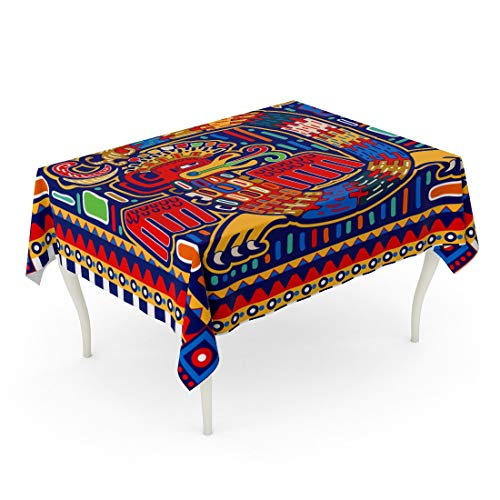 Tarolo Rectangle Tablecloth 60 x 102 Inch Colorful America Quetzalcoatl Ornamental Pattern Dragon Maya Mayan Peru South Table Cloth