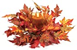 Thanksgiving Fall Orange & Red Maple Leaf Pillar Candle Holder Centerpiece 17""
