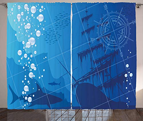 Ambesonne Nautical Decor Curtains, Underwater with Sharks, Old Ship and Compass Rose Deep Water Bubbles, Living Room Bedroom Decor, 2 Panel Set, 108 W X 84 L inches
