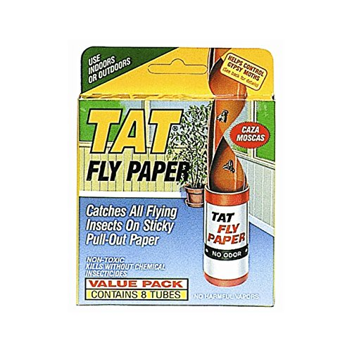Tat Fly Paper Ribbon, Non-Toxic, Catches All Flying Insects - 8 pack