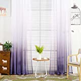 YJBear Polyester Gradient Sheer Curtains for Living Room Rod Pocket Bedroom Voile Window Treatment Curtain Set,Purple,55″ x 94.4″(2 Panels) For Sale