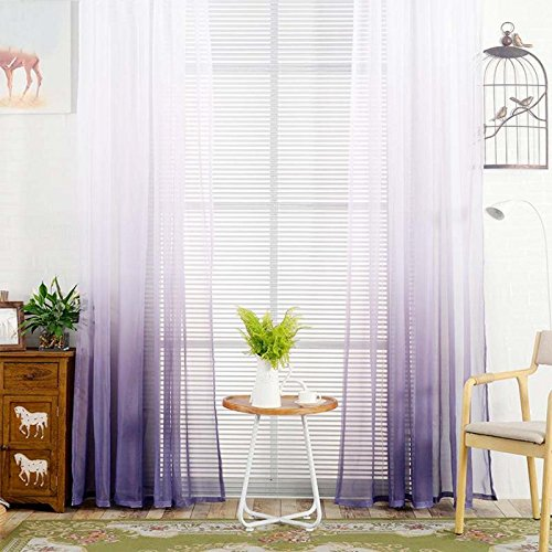 YJBear Polyester Gradient Sheer Curtains for Living Room Rod Pocket Bedroom Voile Window Treatment Curtain Set,Purple,55