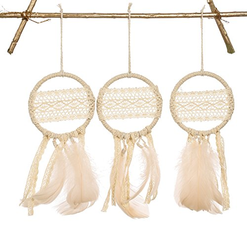 Ling's moment Mini Dream Catchers Boho Wedding Party Favor, Fall Decor Christmas New Year Gift Baby Shower, Bedroom Wall Hanging Decoration Nude Feather Set of 3