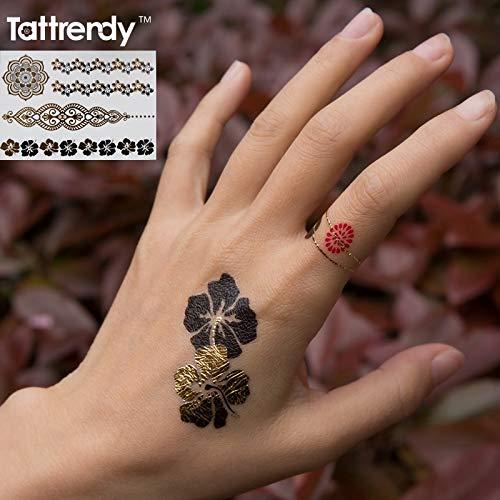 tzxdbh Transferable Impermeable Tatuaje Temporal Metálico Oro ...