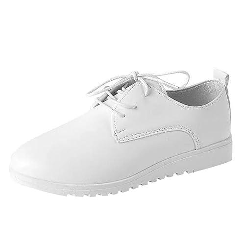 Zapatillas para Mujer Otoño 2018 PAOLIAN Zapatos de Cordones Plano Dama Casual Cómodo Deportivo Moda Señora Senderismo Calzado de Trabajo Elástico Paño ...