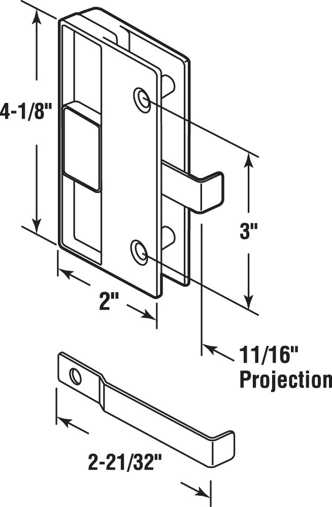 Prime-Line Products A 177 Sliding Screen Door Latch and Pull Black Plastic