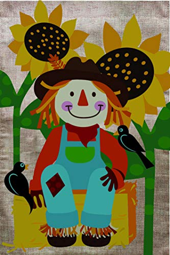 Lantern Hill Burlap Scarecrow with Sunflowers Fall Garden Flag; Double Sided; 12.5 x 18 inches; Rustic Country Primitive Seasonal Decorative Banner ()