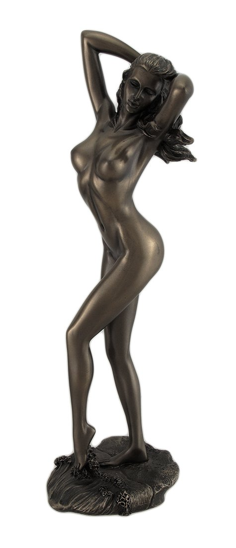 Bronzed Finish Nude Female with Hands in Hair Statue Sculpture Erotic Art